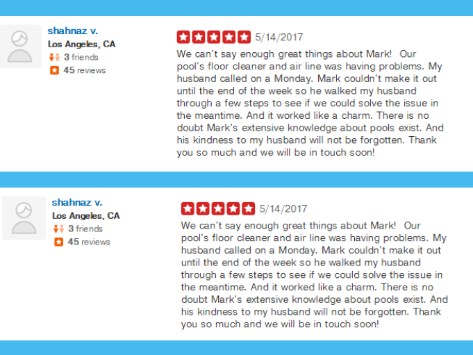 Yelp Pool Company Reviews